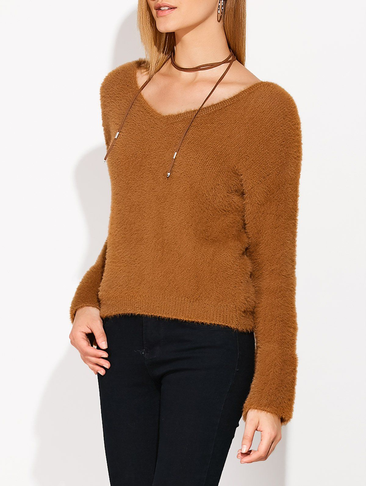 V Neck Lace Up Fuzzy Sweater in Light Brown | Sammydress.com ...