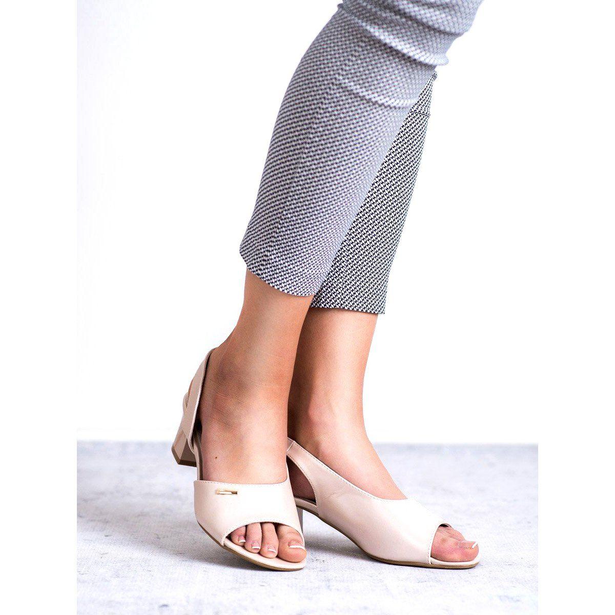 Sandaly Damskie Goodin Goodin Brazowe Eleganckie Wsuwane Sandaly Heels Mule Shoe Shoes