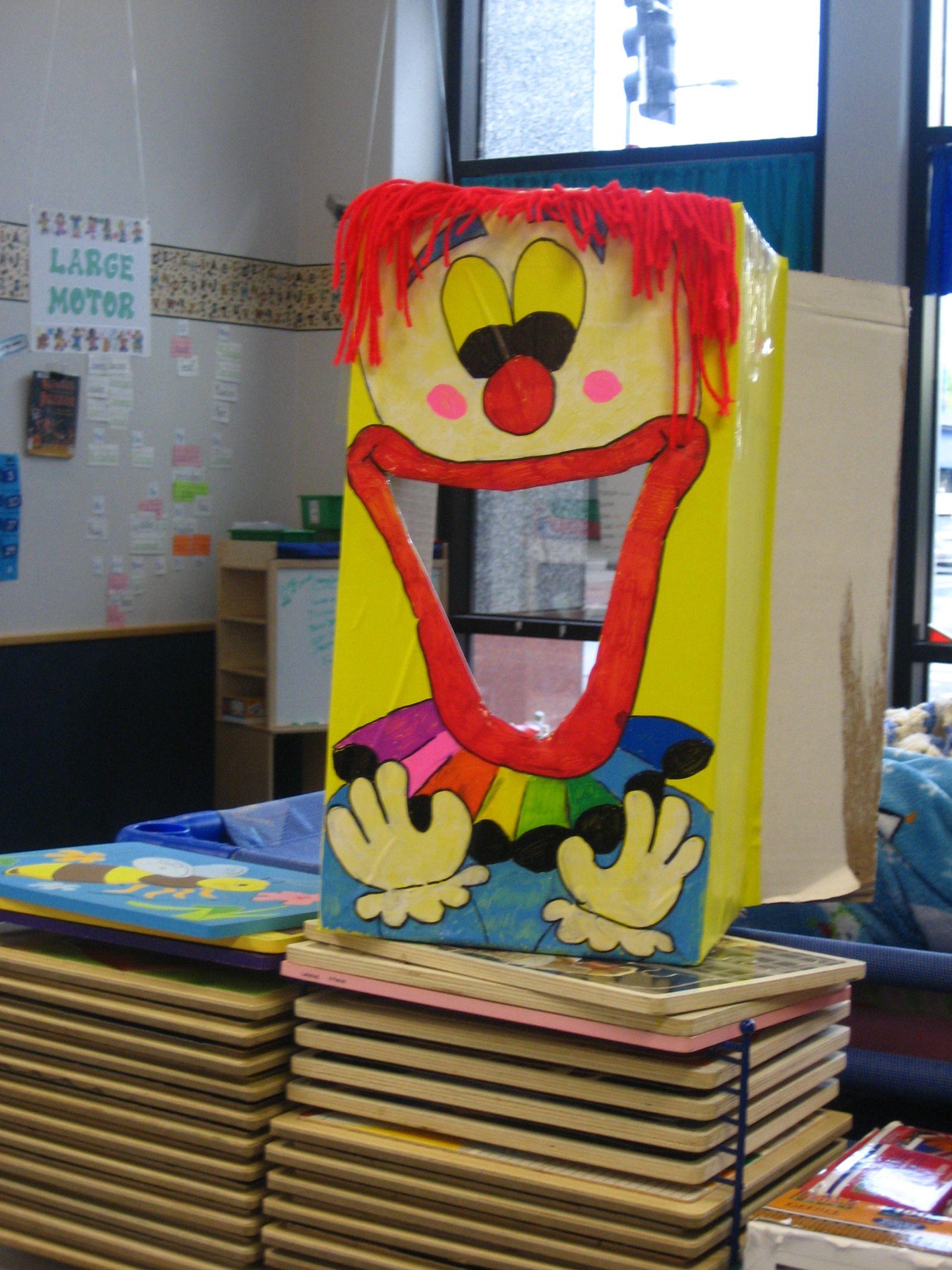 Clown Bean Bag Toss Cardboard Box Contact Paper Sharpie Paint