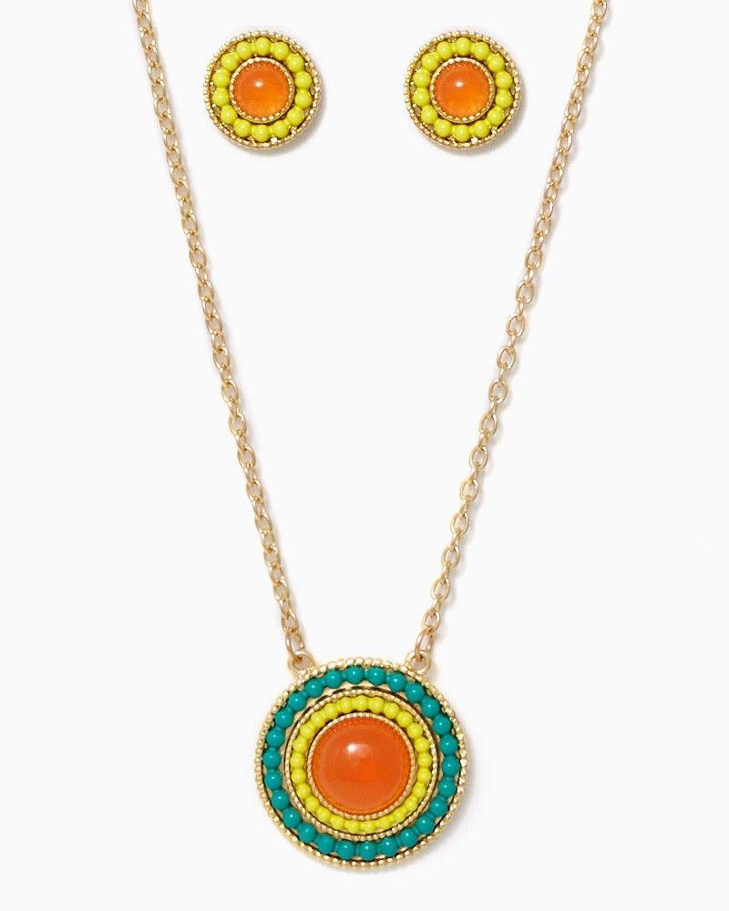 charming charlie | Sunlit Beaded Pendant Necklace Set | UPC: 410006637276 #charmingcharlie