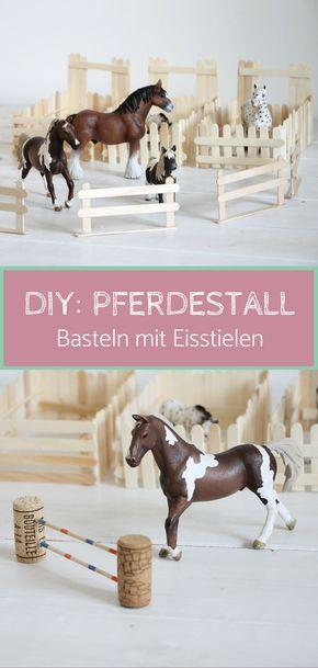 Basteln mit Eisstielen: Pferdestall bauen #zaunideen
