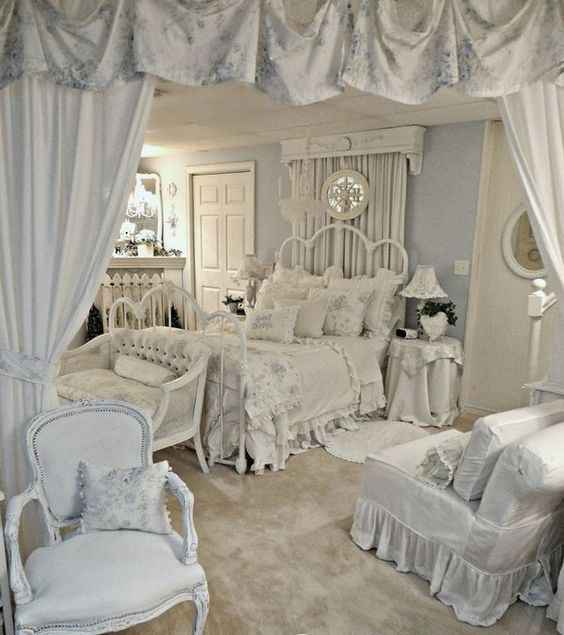 All White Shabby Chic Bedroom With Ruffled Textiles