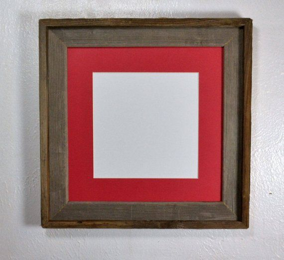 8x8 Red Mat In Decorative Reclaimed Wood Picture Frame Fits 8x8