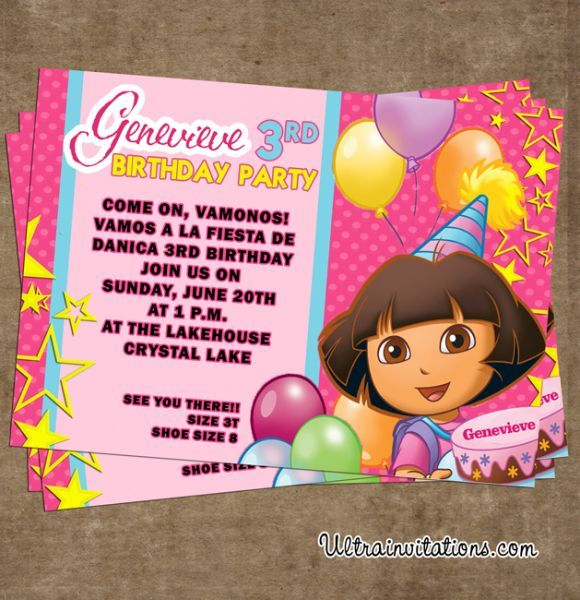 dora birthday invitations – frenchkitten, Birthday invitations