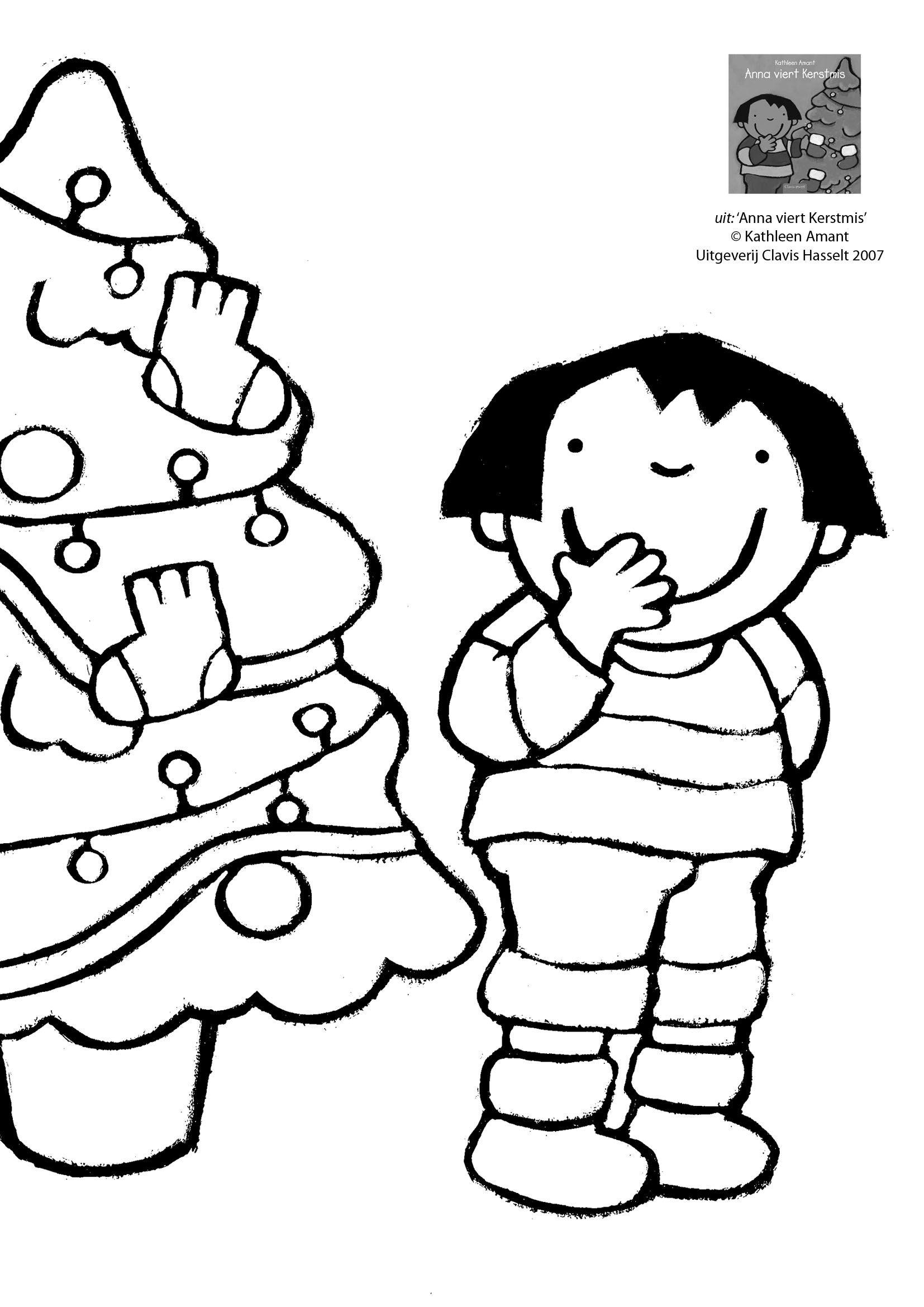 Kleurplaat Anna En De Kerstboom Prenten Anna Karel Kaatje