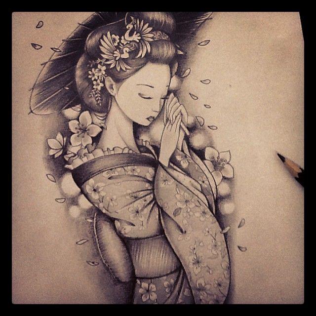 Sketch finalizado geisha sketch tattoo chrisyamamoto - Tattoos geishas japonesas ...