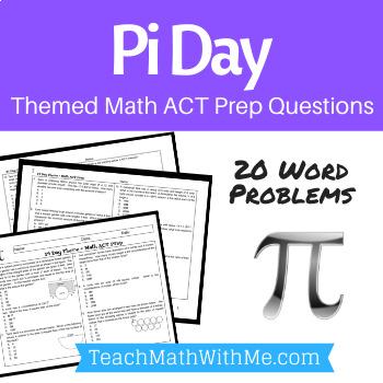 Pi Day Math Act Prep Worksheet Practice Questions Act Math Act Math Act Prep Math