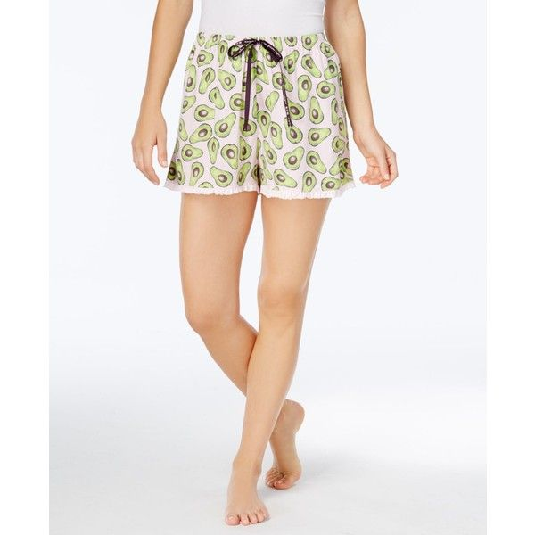 08105addf0 Hue Avocado-Print Knit Pajama Shorts ( 16) ❤ liked on Polyvore featuring  intimates