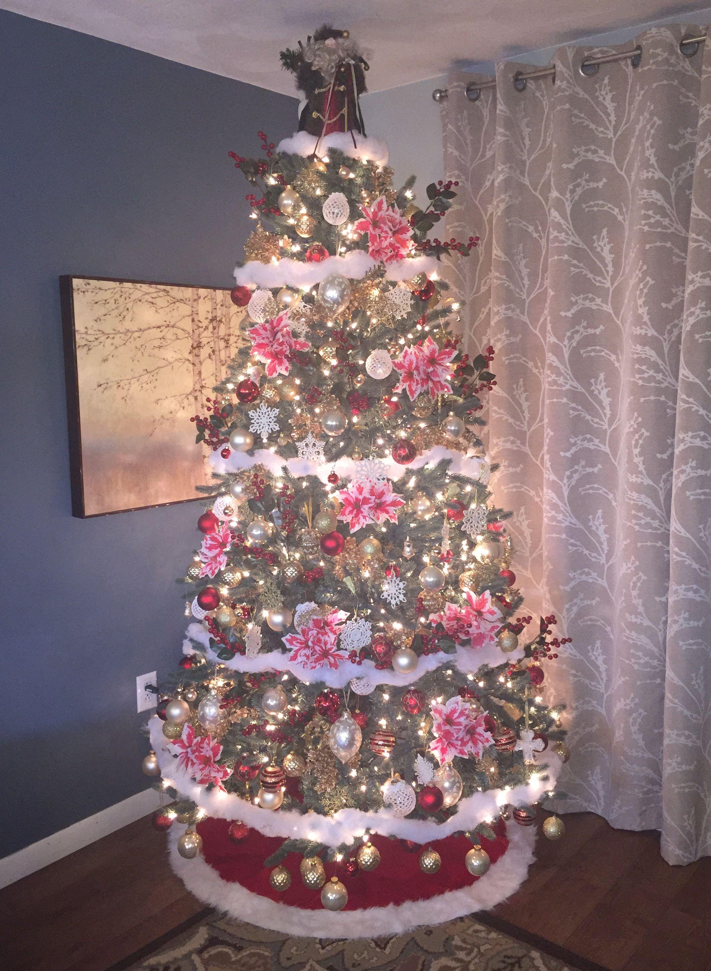 2018 Christmas Tree...red, white, berries and snow.   Christmas, Christmas tree, Holiday