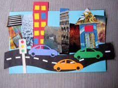"""""""On The Road"""" Collage Craft for Kids-- Using magazine cut-outs, scrap paper, and cardboard. Make the road and the city skyline as long as you like!"""