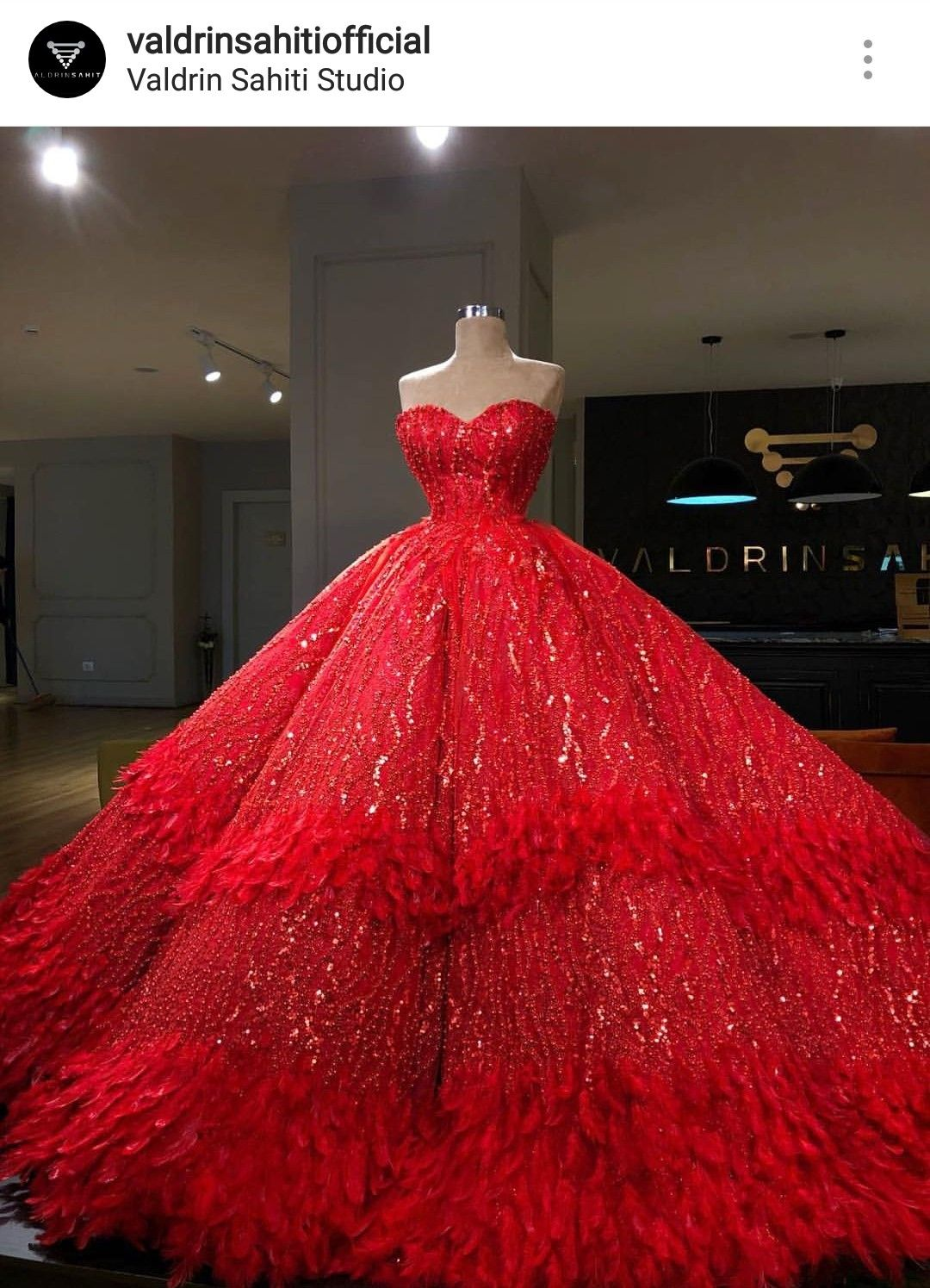 Mare Barrow Valdrin Sahiti Red Sequin Ball Gown With Feather Gowns Red Wedding Gowns Ball Dresses