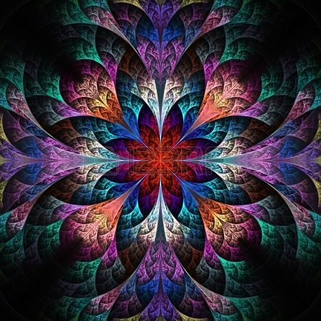 Beautiful Fractal Flower In Blue And Red Computer Generated Canvas Art Prints Floral Metal Wall Art Triptych Canvas
