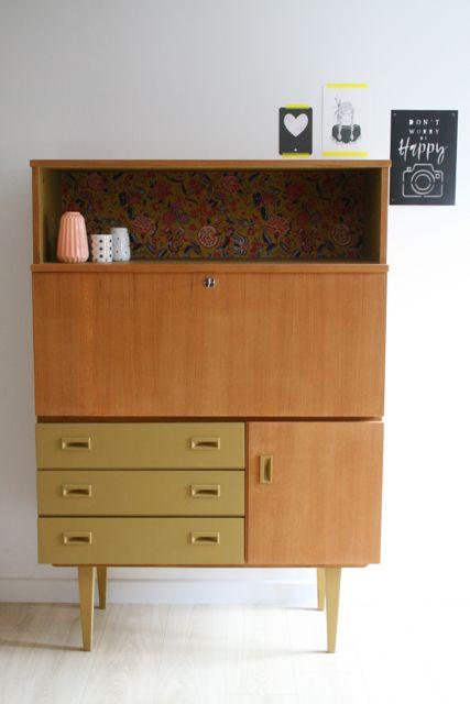 secr taire vintage r nov et relook par les jolis meubles. Black Bedroom Furniture Sets. Home Design Ideas