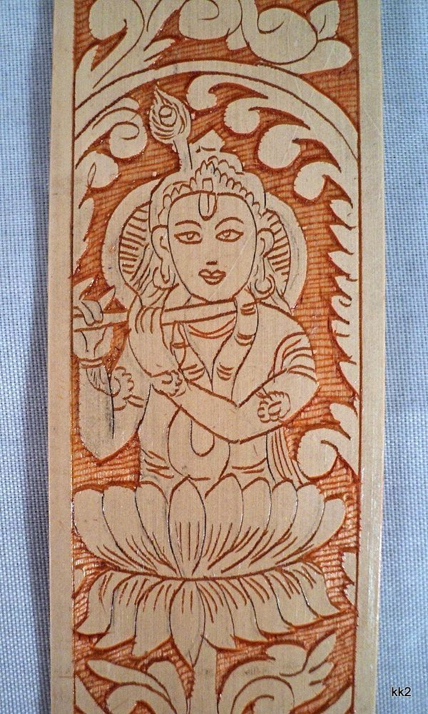 Bookmark with Krishna Hindu Flute-Playing Handcarved Bamboo -Handmade in Nepal