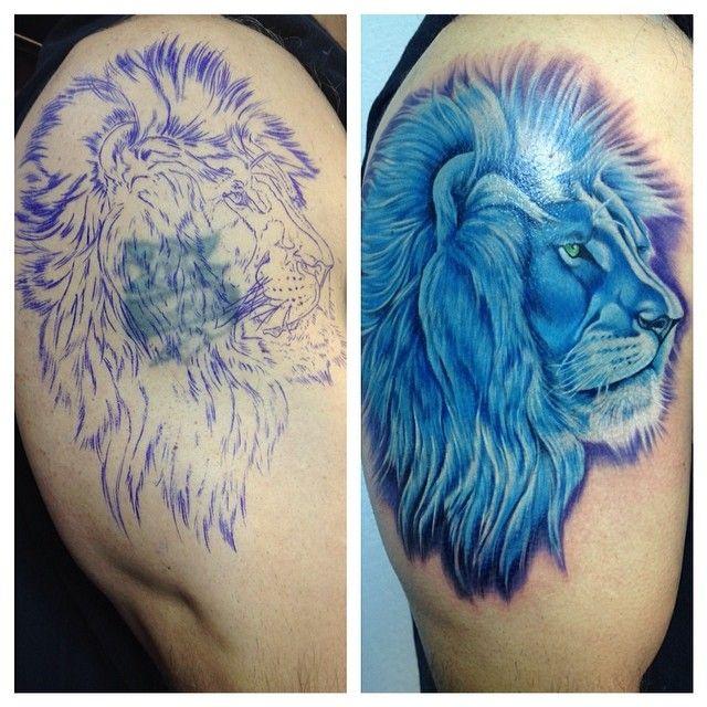 Lion Tattoo Blue Lion Realism Color Tattoo Lion King Of The Jungle Vorlagen