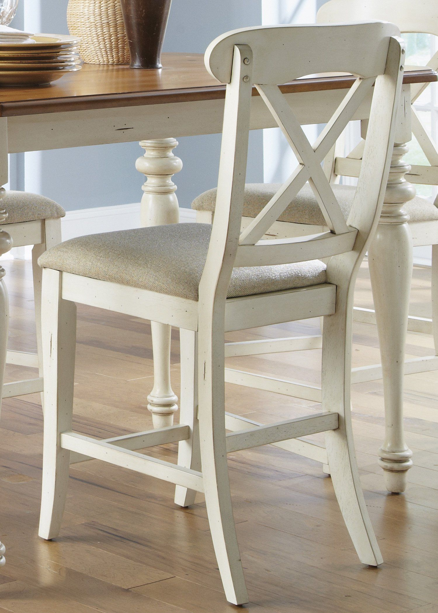 Liberty furniture ocean isle upholstered x back counter stool set of 2 308 hayneedle