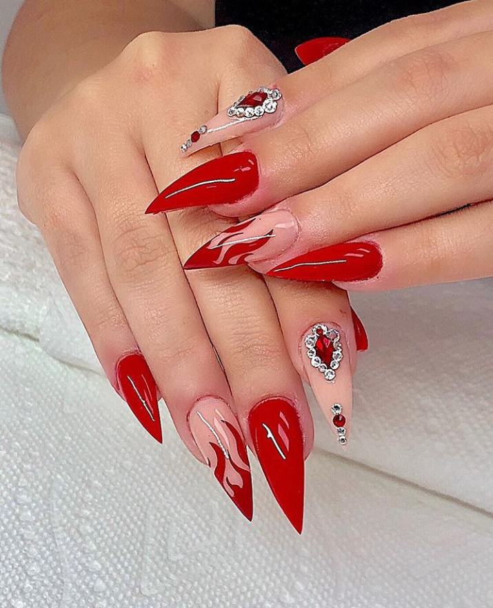 75 Chic Classy Acrylic Stiletto Nails Design You Ll Love Page 48 Of 75 Latest Fashion Trends For Woman Red Stiletto Nails Stilleto Nails Designs Stiletto Nails Designs