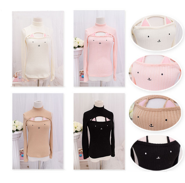 Pretty hollow chest cat keyhole sweater (review) from Cute Kawaii ...