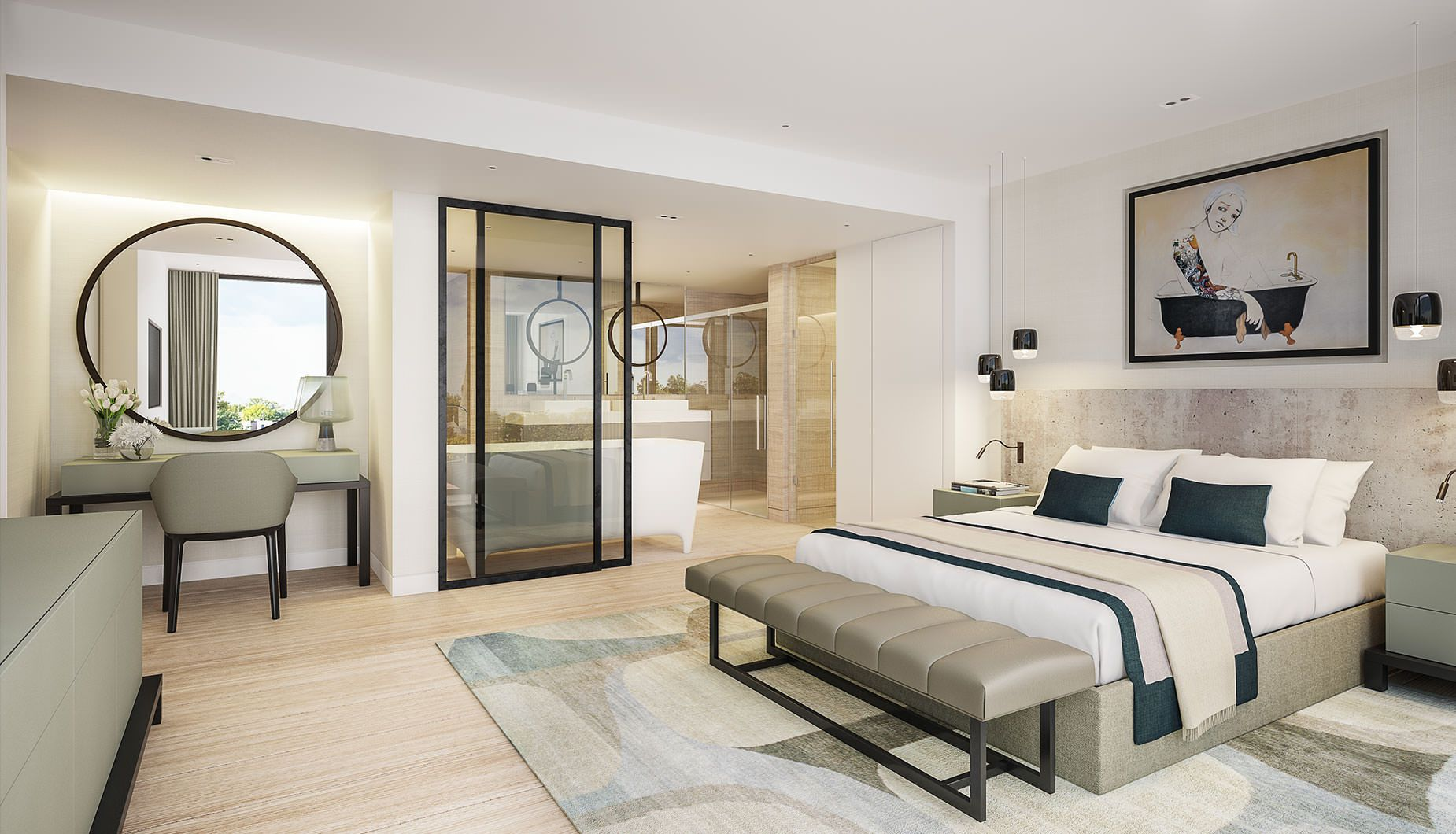 Luxury contemporary master bedroom suite with open plan for Master bathroom ensuite