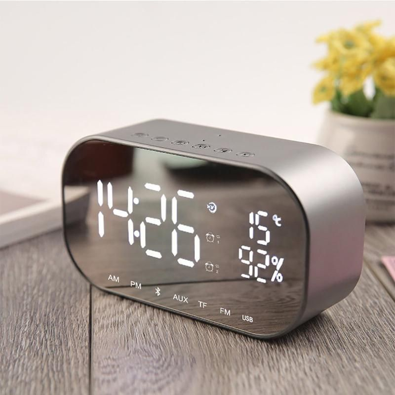 Mirrored Alarm Clock Modern Digital Led