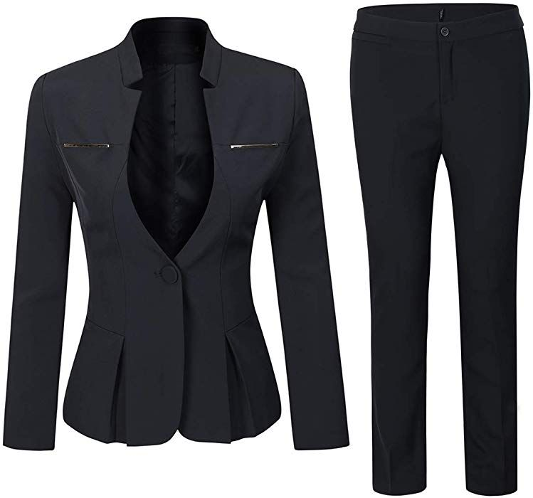 7f68cd01d90c Amazon.com  Women s Elegant Business Two Piece Office Lady Suit Set Work Blazer  Pant (Suit Set-Black