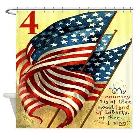 American Flag Fourth Of July Shower Curtain By Rebeccakorpita