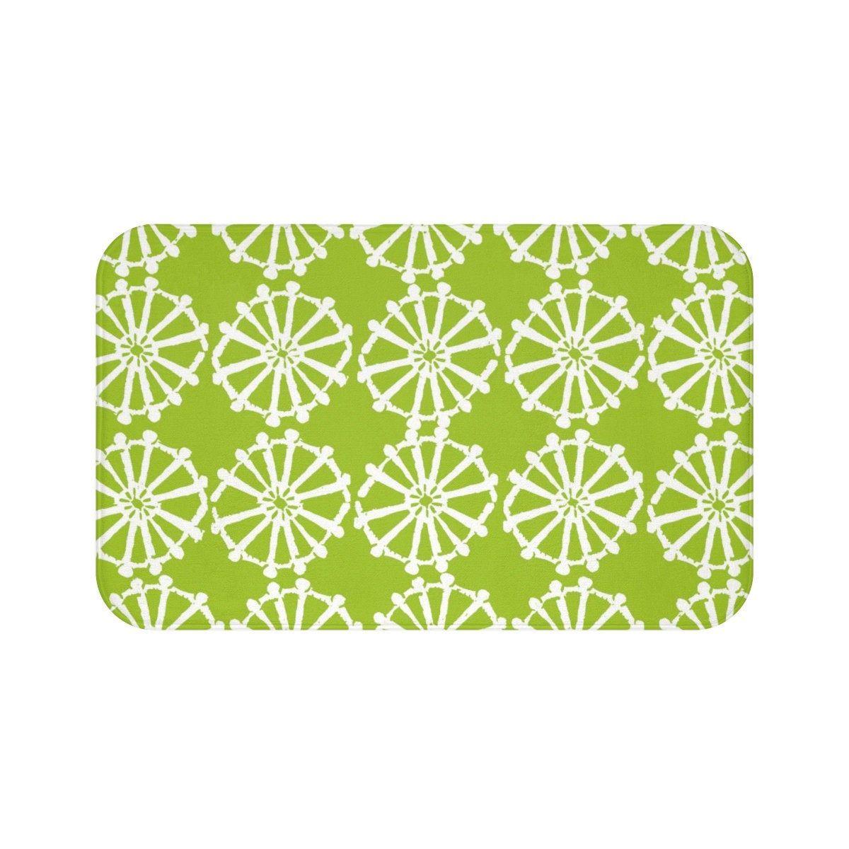 lime green bath mat  lime and white bath mat  wheel