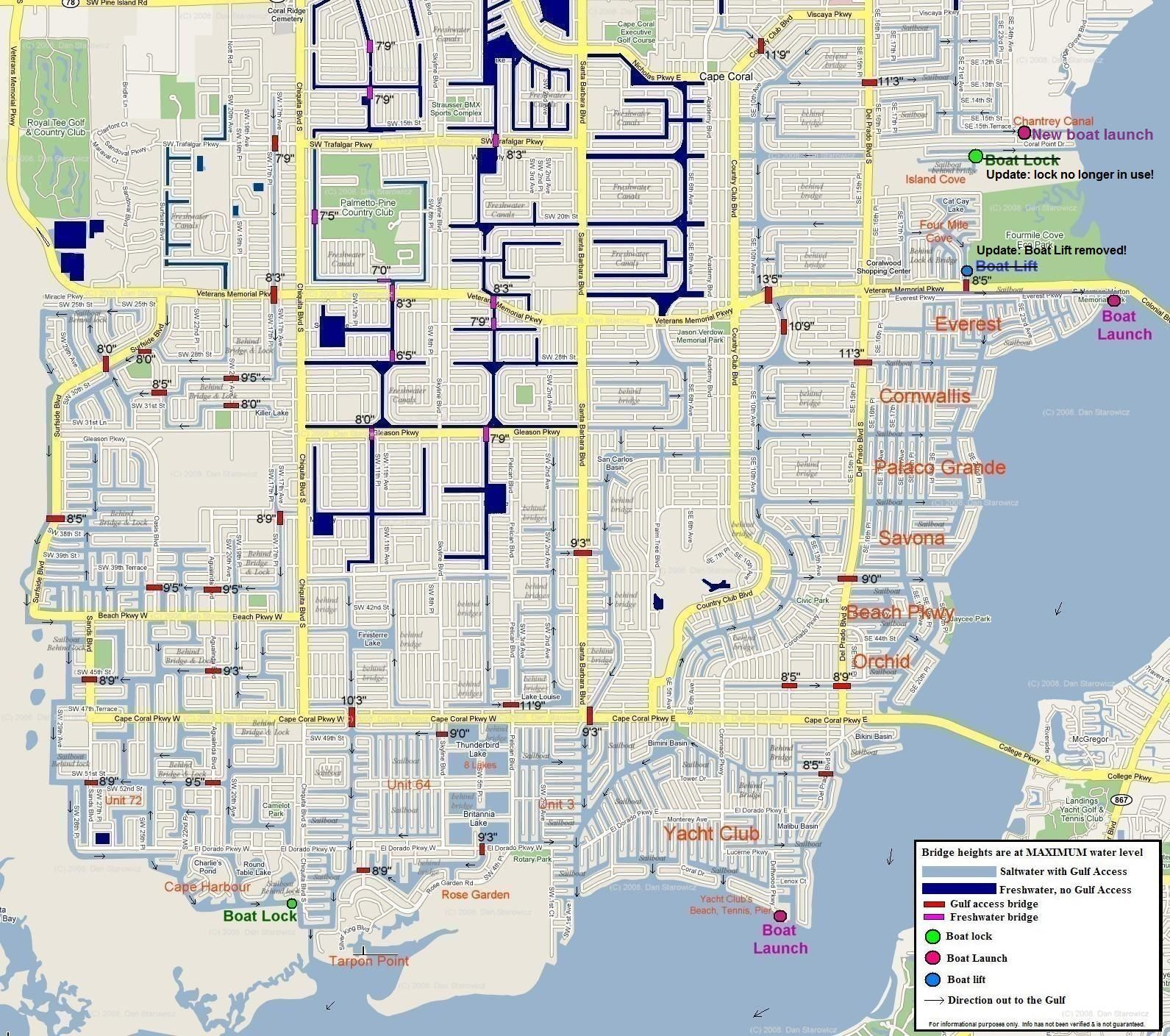 Map Cape Coral Florida Map of Cape Coral Florida | Cape coral florida, Cape coral