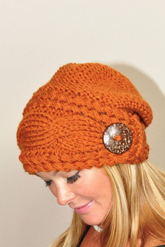 Slouchy Beanie Slouchy Hat Cable Button Hat Hand Knit Winter Women ...
