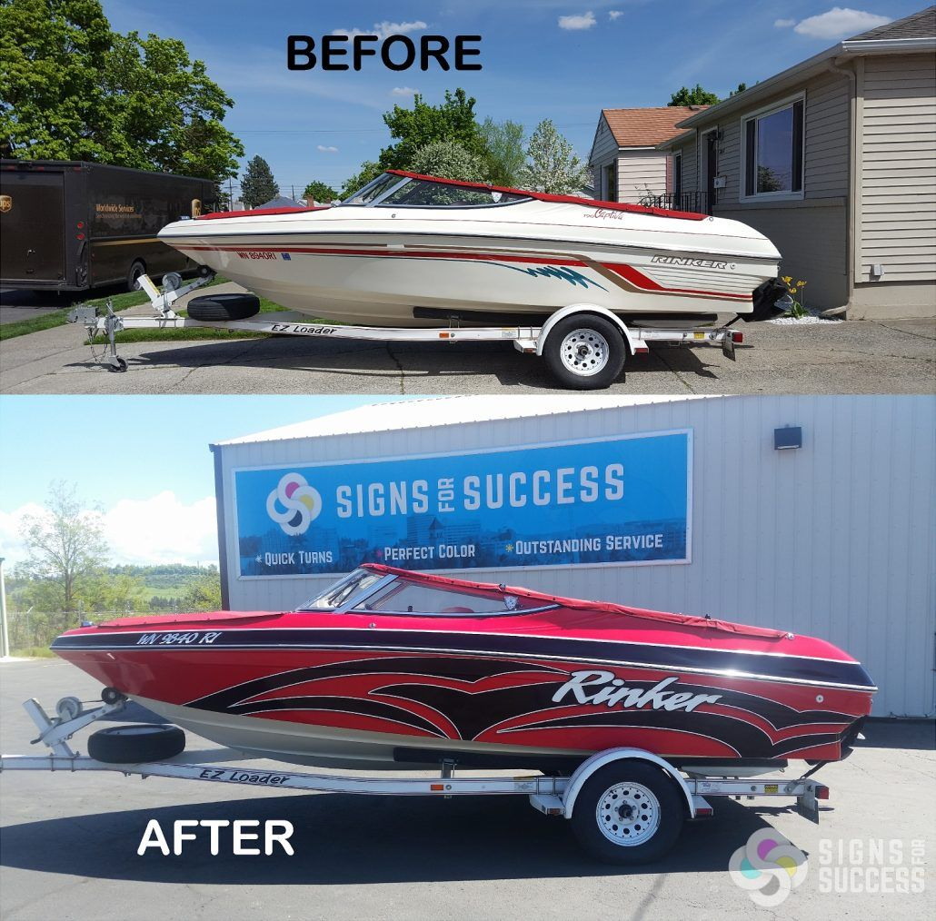 Rinker Boat Wrap Before and After   boat wraps   Boat wraps
