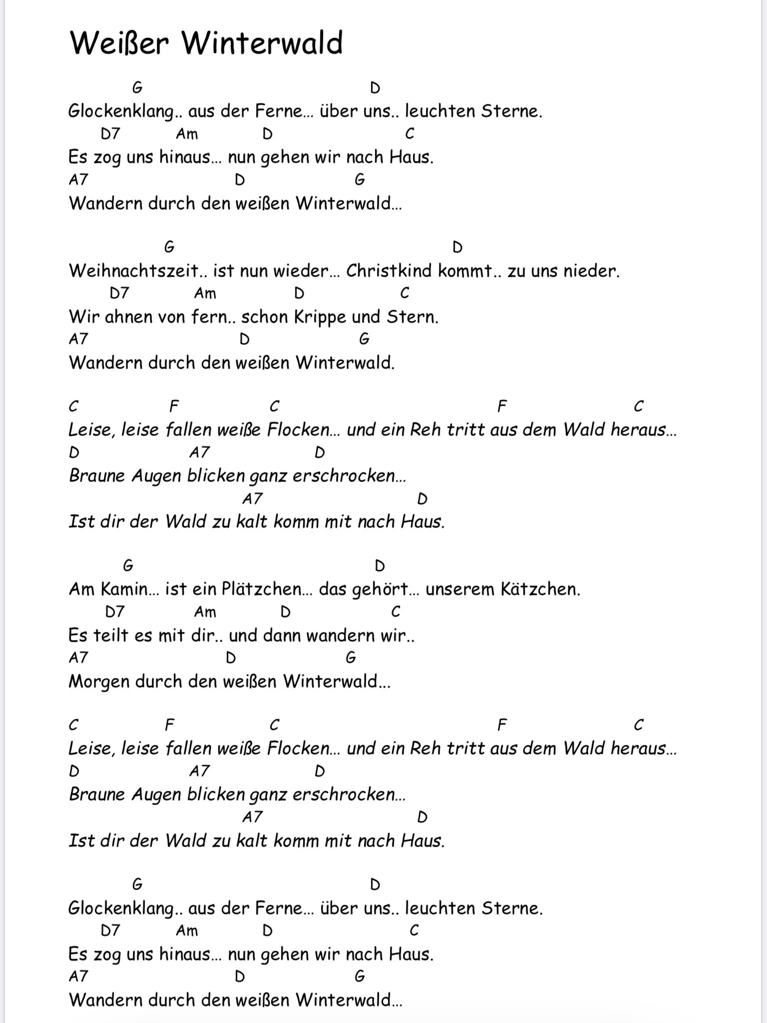 Weisser Winterwald Songtext Mit Akkorden Gitarre Lieder Musik Lernen Musik Gitarre
