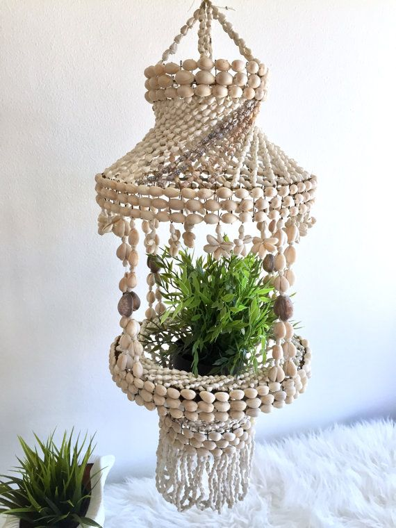 Hanging Seashell Planter Sea Shell Chandelier Cowrie