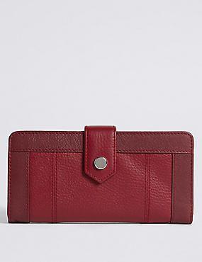 M/&S Cardsafe Tan Genuine Leather Stud Purse