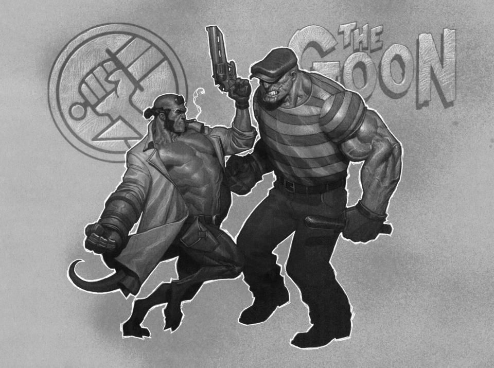 Hellboy vs The Goon by Ariel Olivetti *