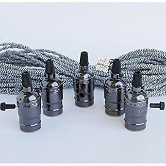 Set of 5 Antique Brass Nickel Black Socket Pendant Lamp Kit with 50 Ft Twisted Cloth Covered Black and White Cord for Vintage Hanging Light Fixtures Great For Industrial Vintage DIY Projects - - Amazon.com