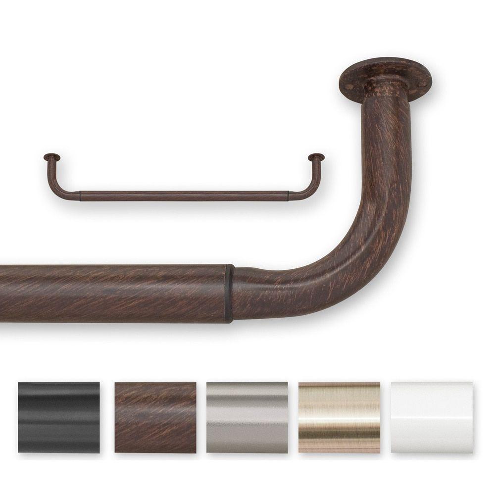 delightful 52 Inch Length Curtains Part - 16: Barricade Adjustable Energy Saving Wraparound Curtain Rod 30 to 52-inch  Length