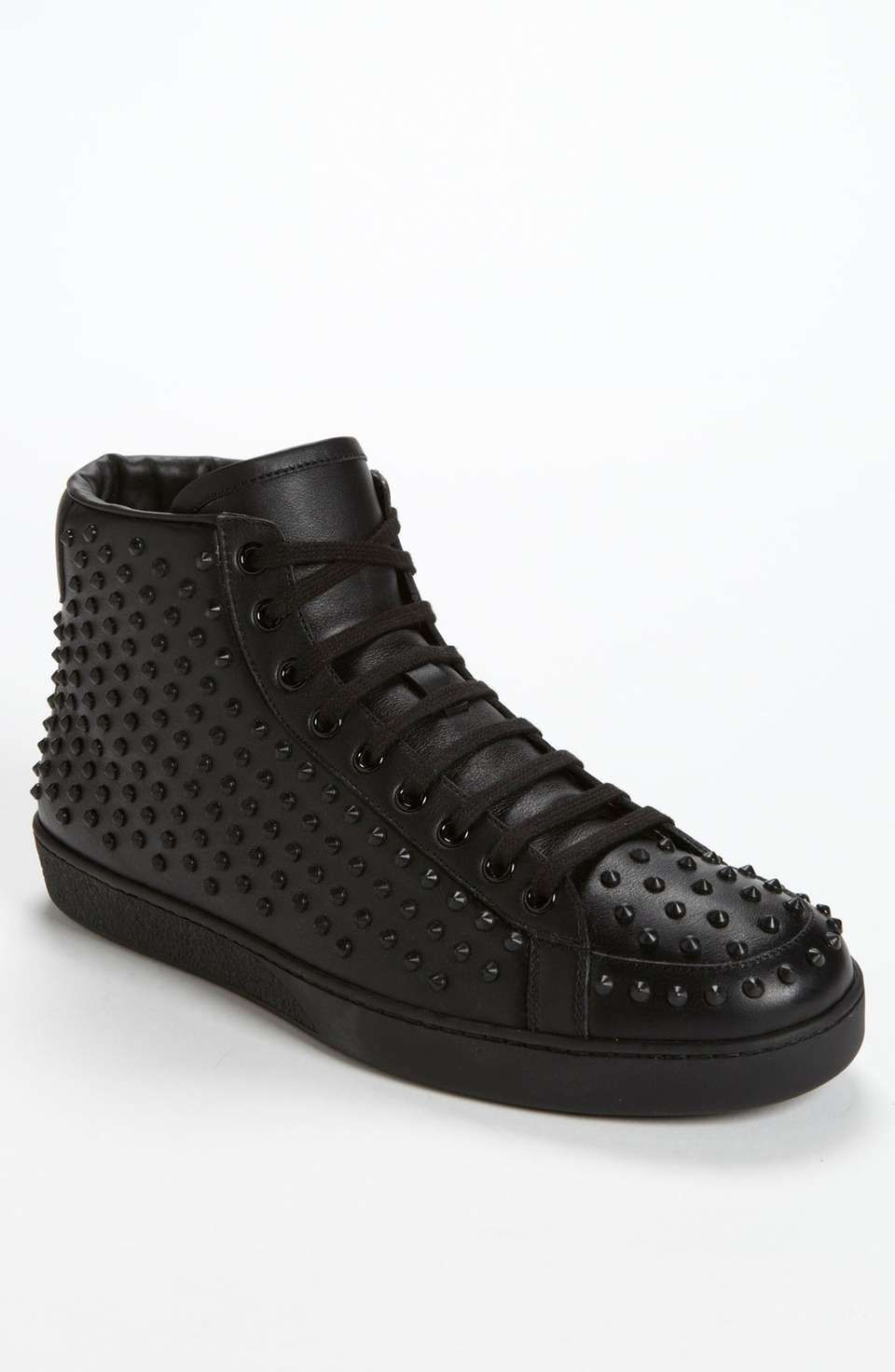50d9d3ad988 Toothy rubber studs add a touch of danger to a retro high-top sneaker in a  monochrome cast.Removable insole.Leather upper and lining rubber sole.By  Gucci ...