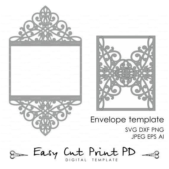 Wedding Invitation Pattern Card Template Lace Folds Studio Etsy Cricut Wedding Invitations Cricut Invitations Lace Invitations