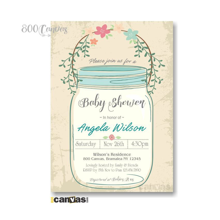 Vintage Mason Jar Baby Shower Invitation. Rustic Baby Shower Invites ...
