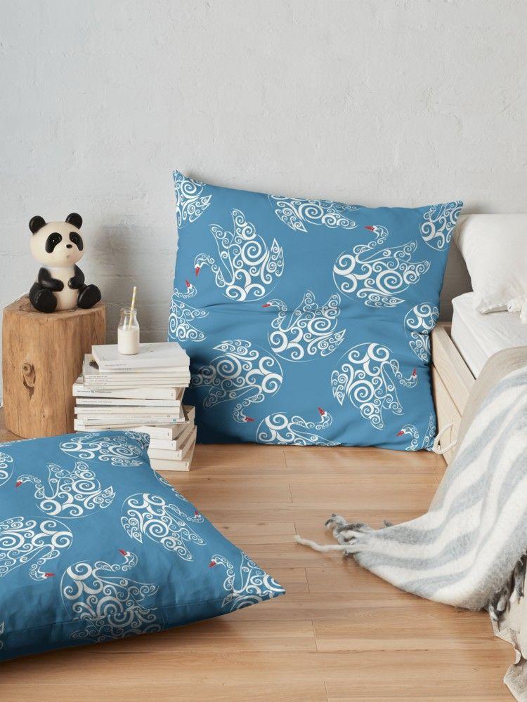 Fairytale white swans  Floor Pillows