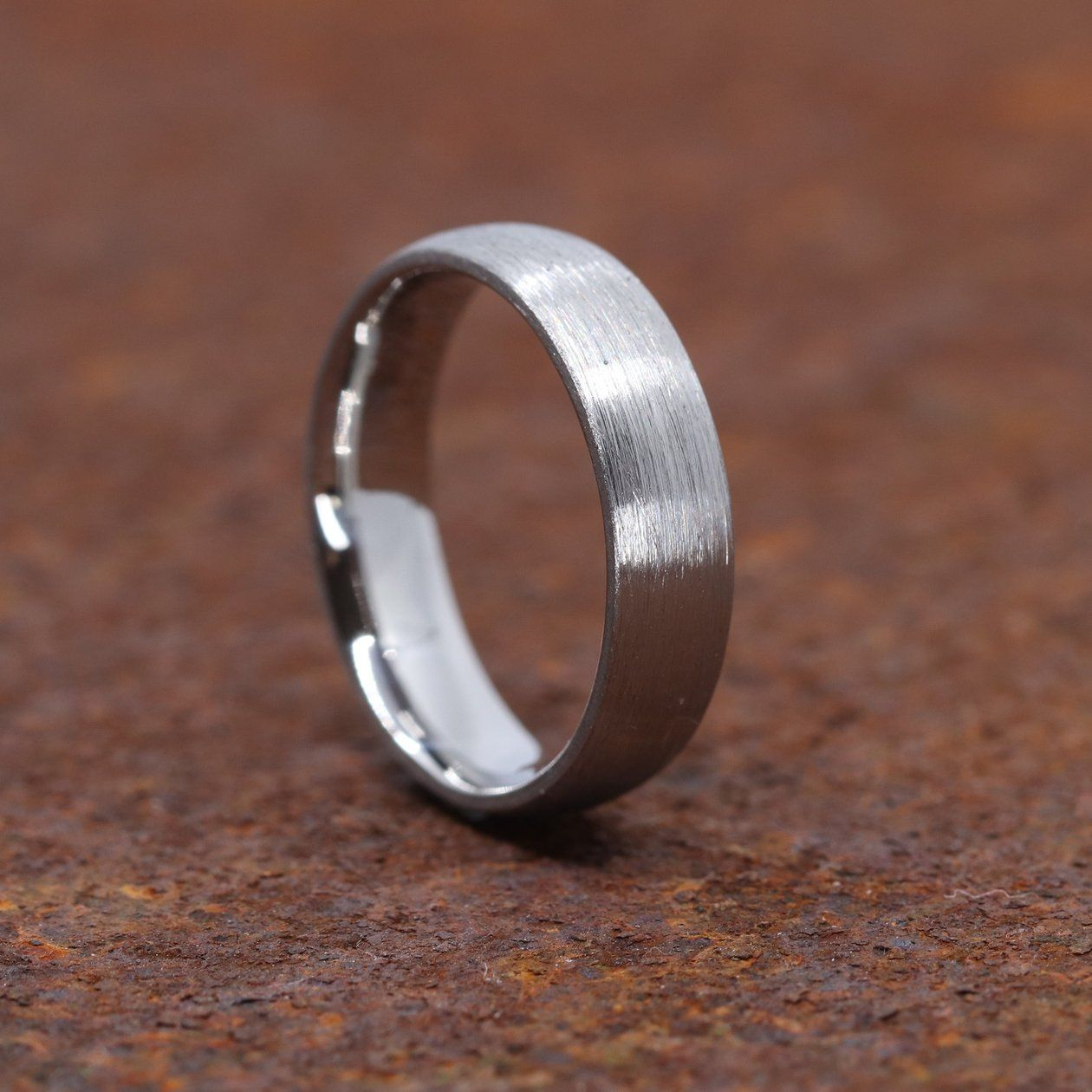The Chelsea Ring Is A Stainless Steel Wedding Ring Which Has A Heavily Brushed Outside Surf Steel Wedding Bands Steel Wedding Ring Stainless Steel Wedding Ring
