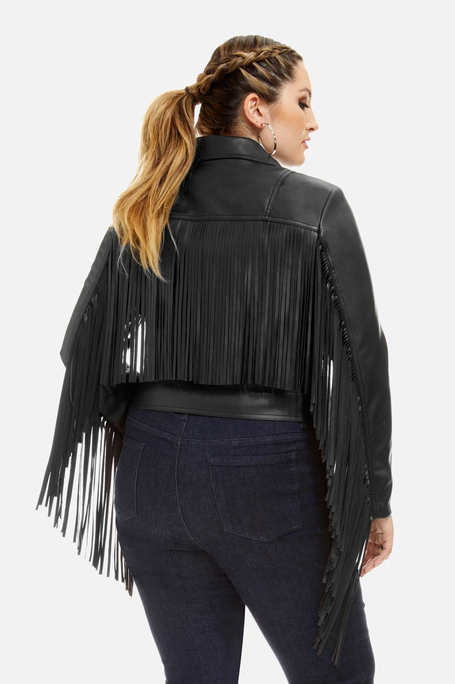 a8a84f66a4ef2 Plus Size Carolina Faux-Leather Fringe Moto Jacket size 3