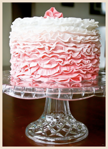 Pink Ruffles Cake, inspired by the Florabella Collection. If you would like a cake made from a piece of unique inspiration, do let us know!