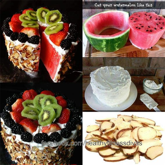 Watermelon cake. Low calorie healthy summer dessert! Looks yummy!