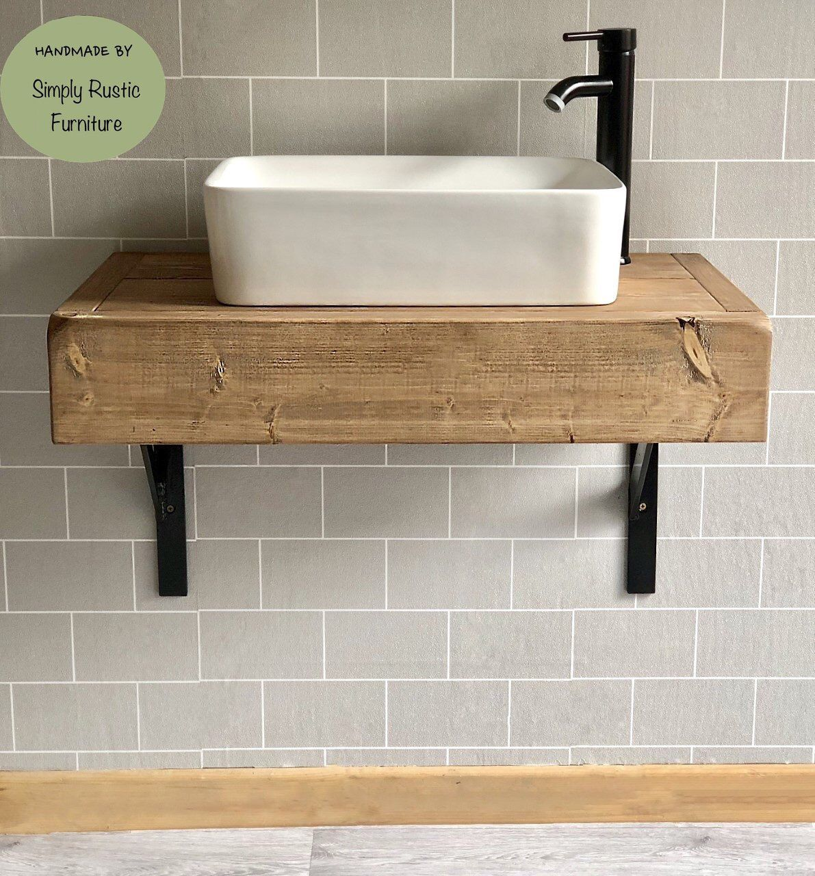 The Floating Beam Shelf Wash Stand Sink Unit Hand Crafted Rustic Bathroom Vanity Unit Wooden Vanity Industrial With Brackets Shelving Floating Bathroom Vanities Industrial Bathroom Decor Bathroom Sink Units