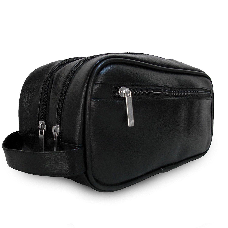 Leather Toiletry Bag For Men Women Shaving Accessory Travel Organizer Dopp Kit