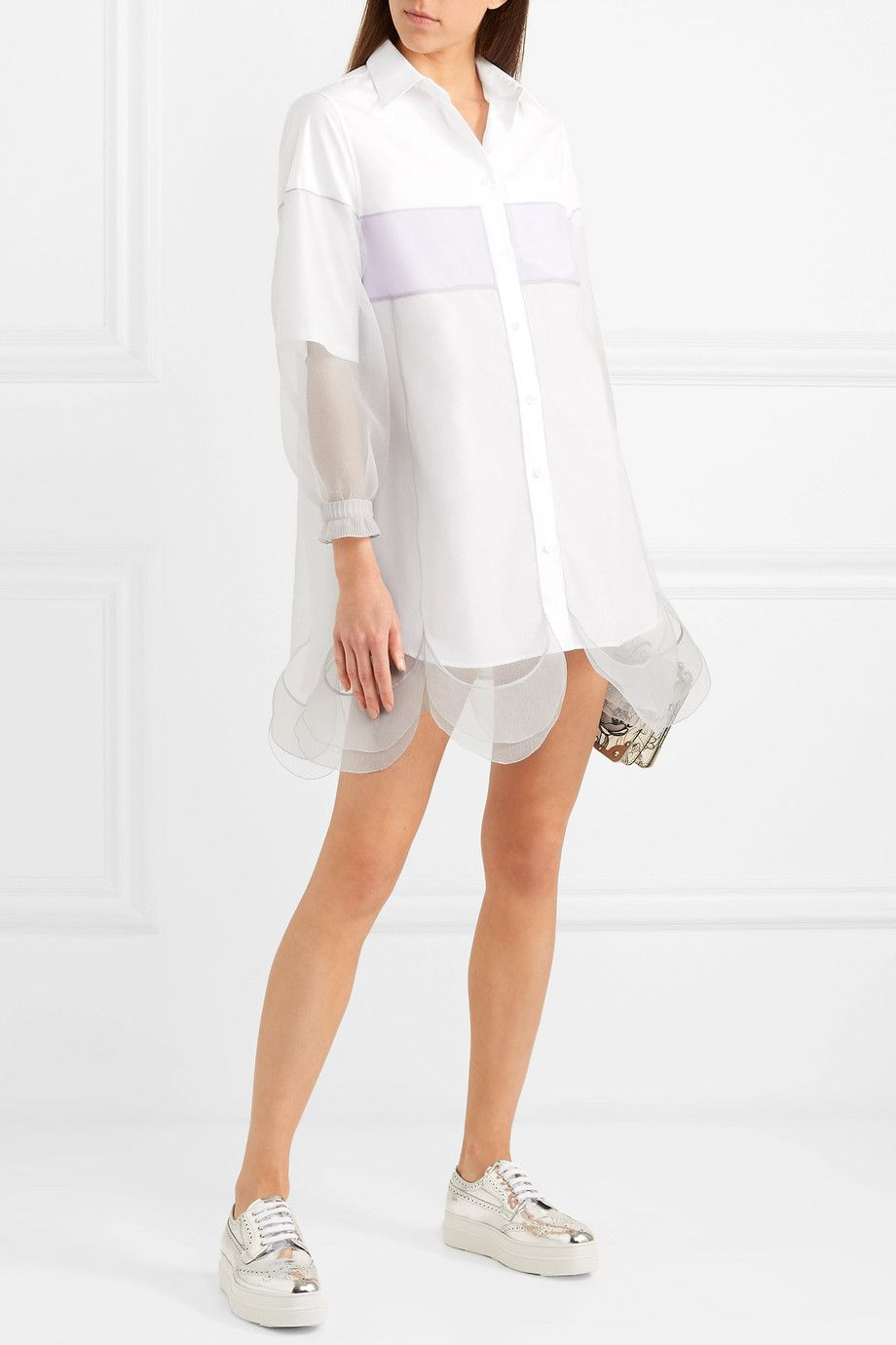 Tulle-paneled Cotton-poplin Mini Dress - Lilac Prada f2CHUaUeK