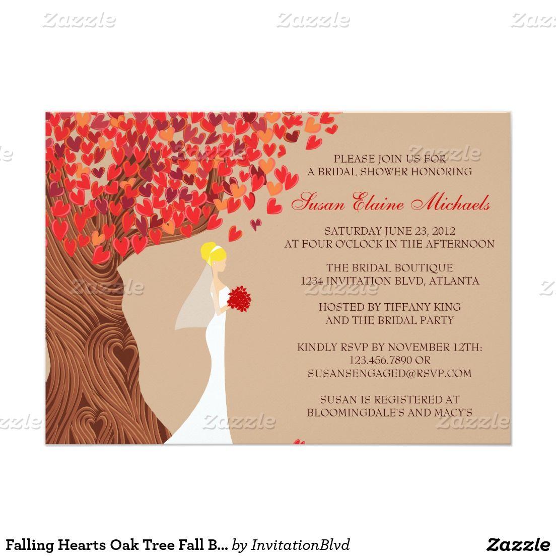 Falling Hearts Oak Tree Fall Bridal Shower Invitation | FALL WEDDING ...