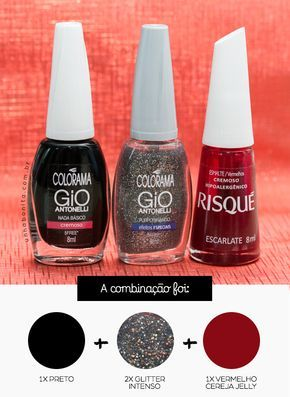 a41521030 Combinando Esmaltes: Bordô escuro com muito glitter | Design de ...