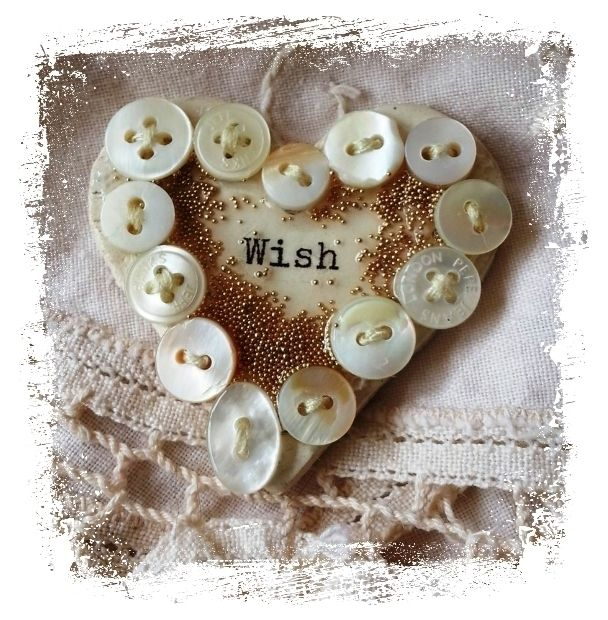 Ceramic Brooch Wish Mother of Pearl Buttons OOAK  £12.00